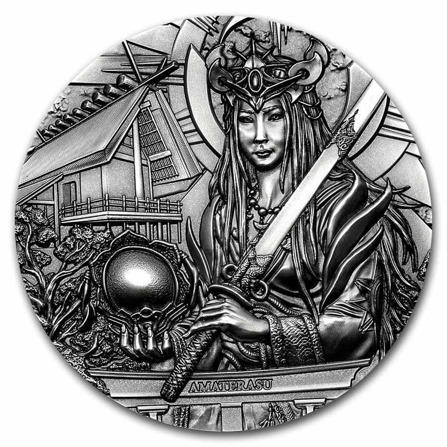 2021 Cook Islands 3 oz Silver Gods of the World; Amaterasu