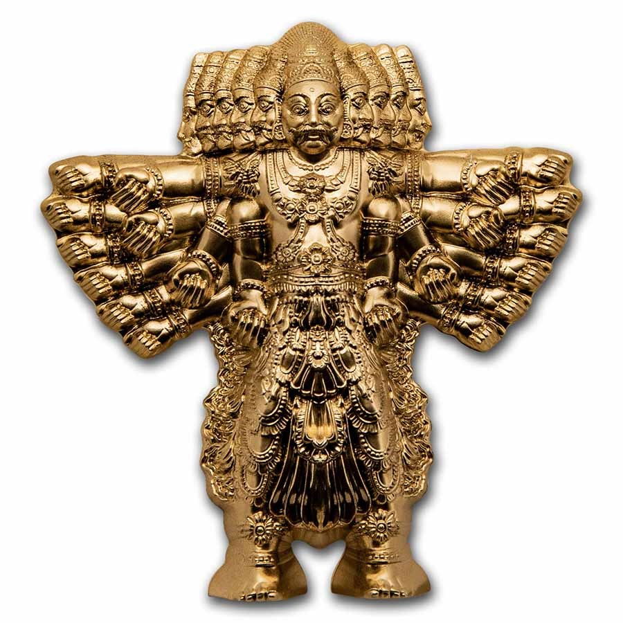 2021 Cook Islands 3 oz Silver Shaped Ravana: King of Demons