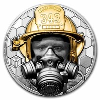 2021 Cook Islands 5 oz Gold Real Heroes: Firefighter Black Proof