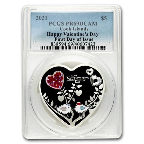 2021 Cook Islands Silver Happy Valentine's Day Heart PR-69 PCGS