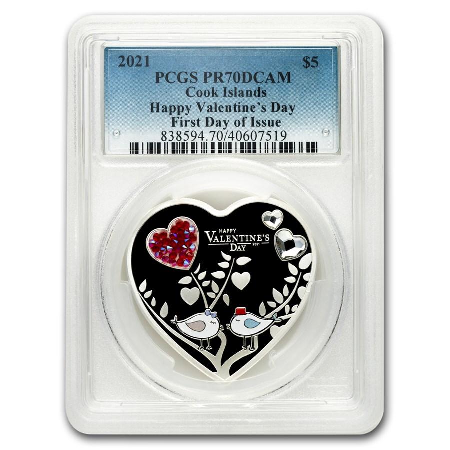 2021 Cook Islands Silver Happy Valentine's Day Heart PR-70 PCGS