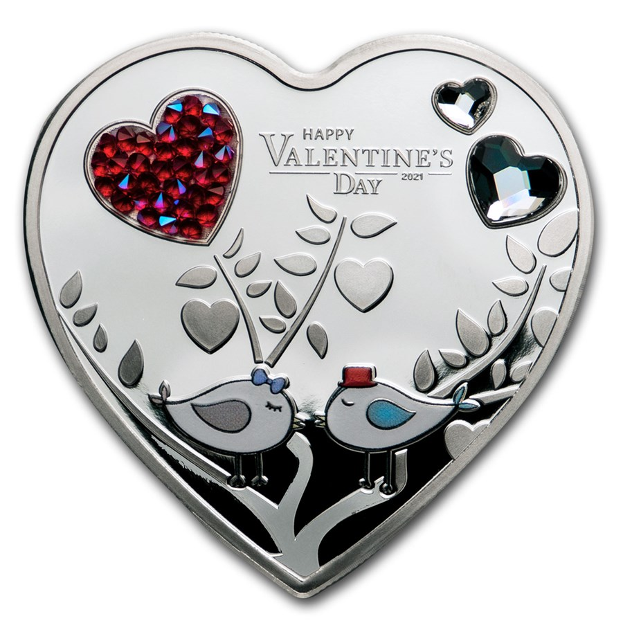 2021 Cook Islands Silver Happy Valentine's Day Heart Shape