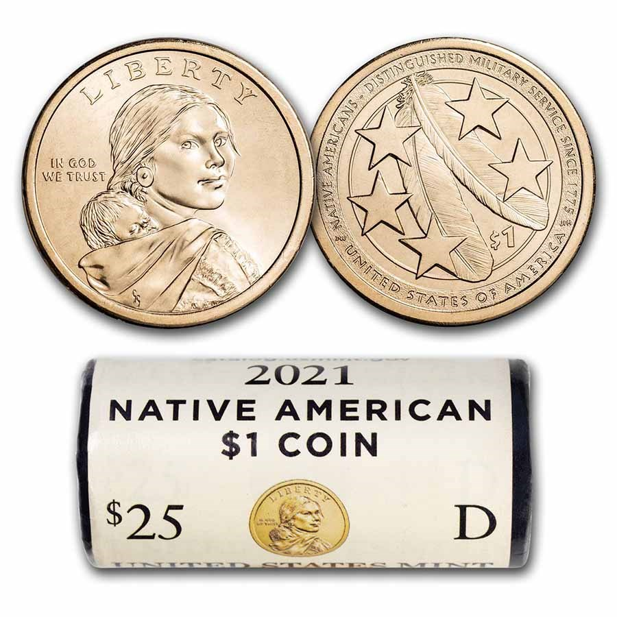 2021-D Native Amer $1 - Eagle Feathers BU (25-Coin Roll)