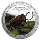 2021 Dem. Rep. of Congo 1 oz Silver Wooly Mammoth Colorized BU