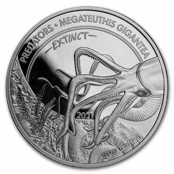 2021 Dem. Rep. of Congo Silver Extinct Predators: Squid