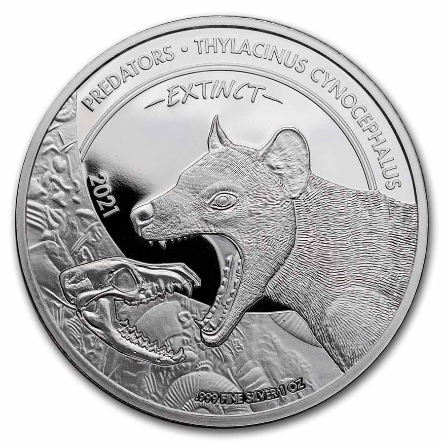 2021 Dem. Republic of Congo 1 oz Silver Predator Bag Wolf BU