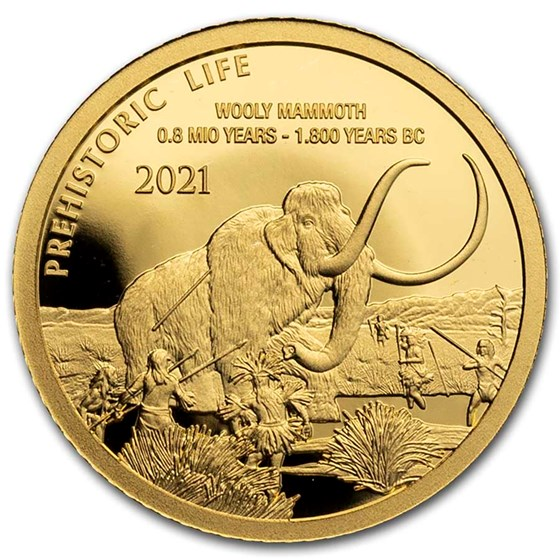 2021 Democratic Rep. of Congo 1/2 gram Gold Wooly Mammoth BU