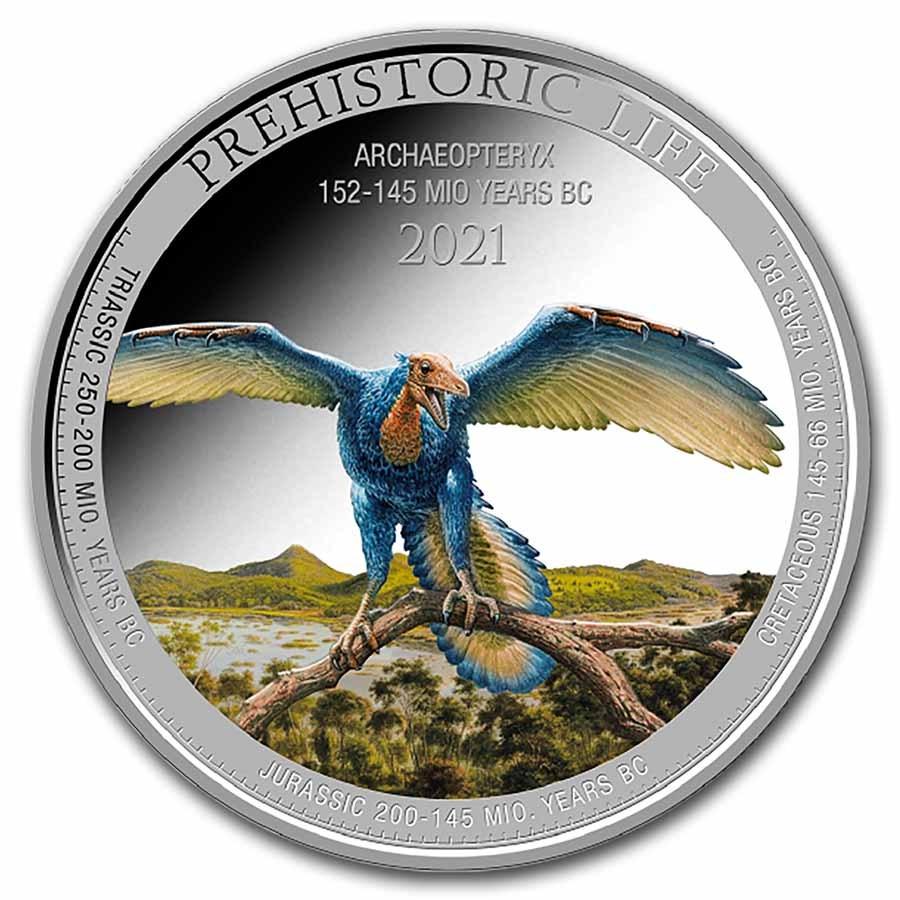 2021 Democratic Rep. of Congo 1 oz Silver Archaeopteryx Colorized