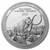 2021 Democratic Rep. of Congo 1 oz Silver Wooly Mammoth BU