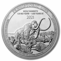 2021 Democratic Rep. of Congo 1 oz Silver Wooly Mammoth BU