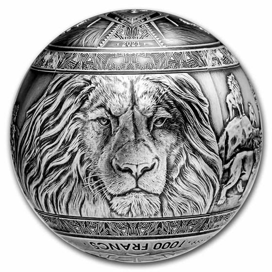 2021 Djibouti 1 kilo Silver Big Five of Africa Lion Spherical
