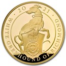 2021 GB 1 kilo Gold Queen's Beasts Greyhound Proof (w/Box & COA)