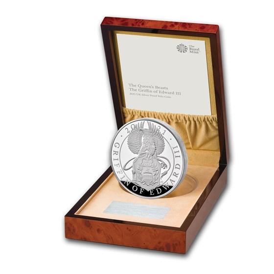 2021 GB 1 kilo Silver Queen's Beast Griffin Proof (w/Box, COA)