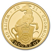 2021 GB 1 oz Gold Queen's Beasts Greyhound Proof (w/Box & COA)