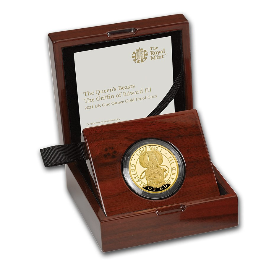 2021 GB 1 oz Gold Queen's Beasts Griffin Proof (w/Box & COA)