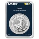 2021 GB 1 oz Silver Britannia (MintDirect® Premier + PCGS FS)