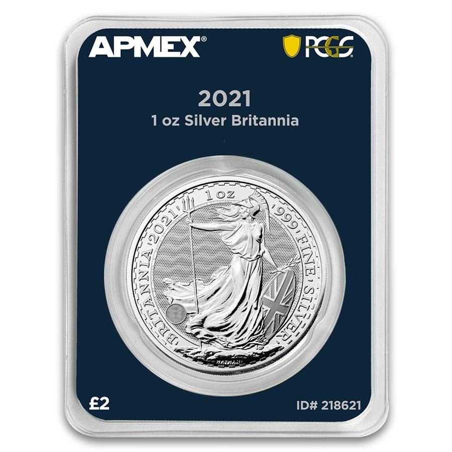 2021 GB 1 oz Silver Britannia (MintDirect® Premier + PCGS FS®)