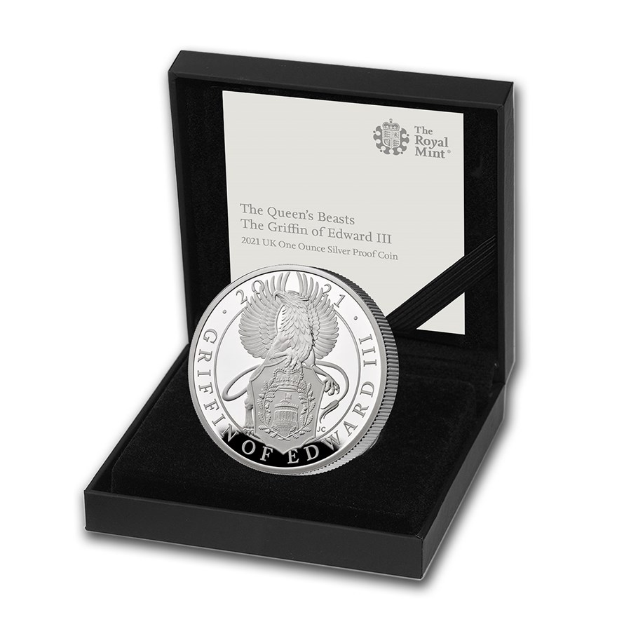 2021 GB 1 oz Silver Queen's Beasts Griffin Proof (w/Box & COA)