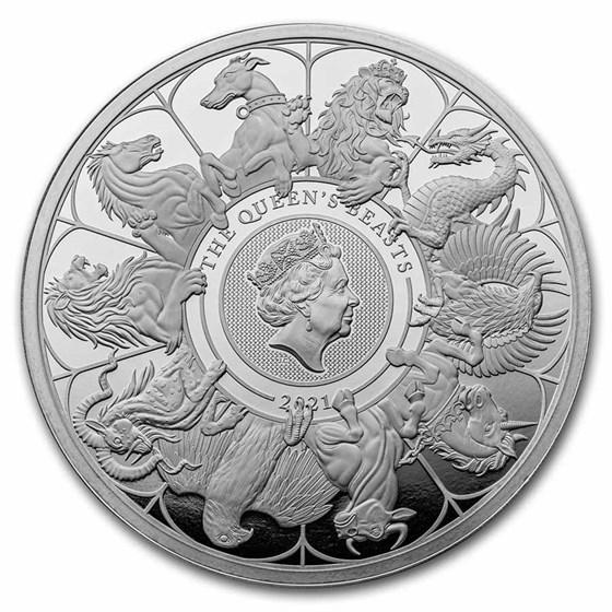 2021 GB Prf 2 kilo Silver Queen's Beasts Collector (w/Box & COA)