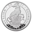 2021 GB Proof 10 oz Silver Queen's Beasts Greyhound (Box & COA)
