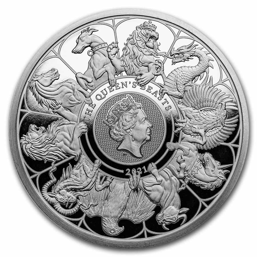 2021 GB Proof 2 oz Silver Queen's Beasts Collector (w/Box & COA)