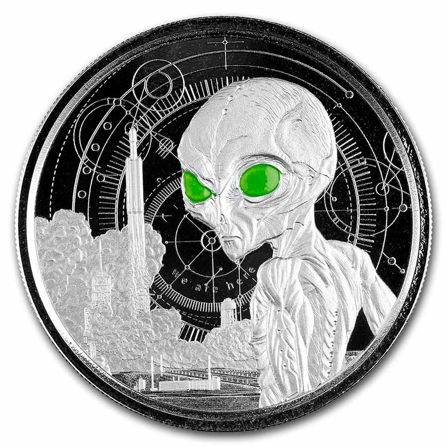 2021 Ghana 1 oz Silver 5 Dollar Space Alien Colorized Proof