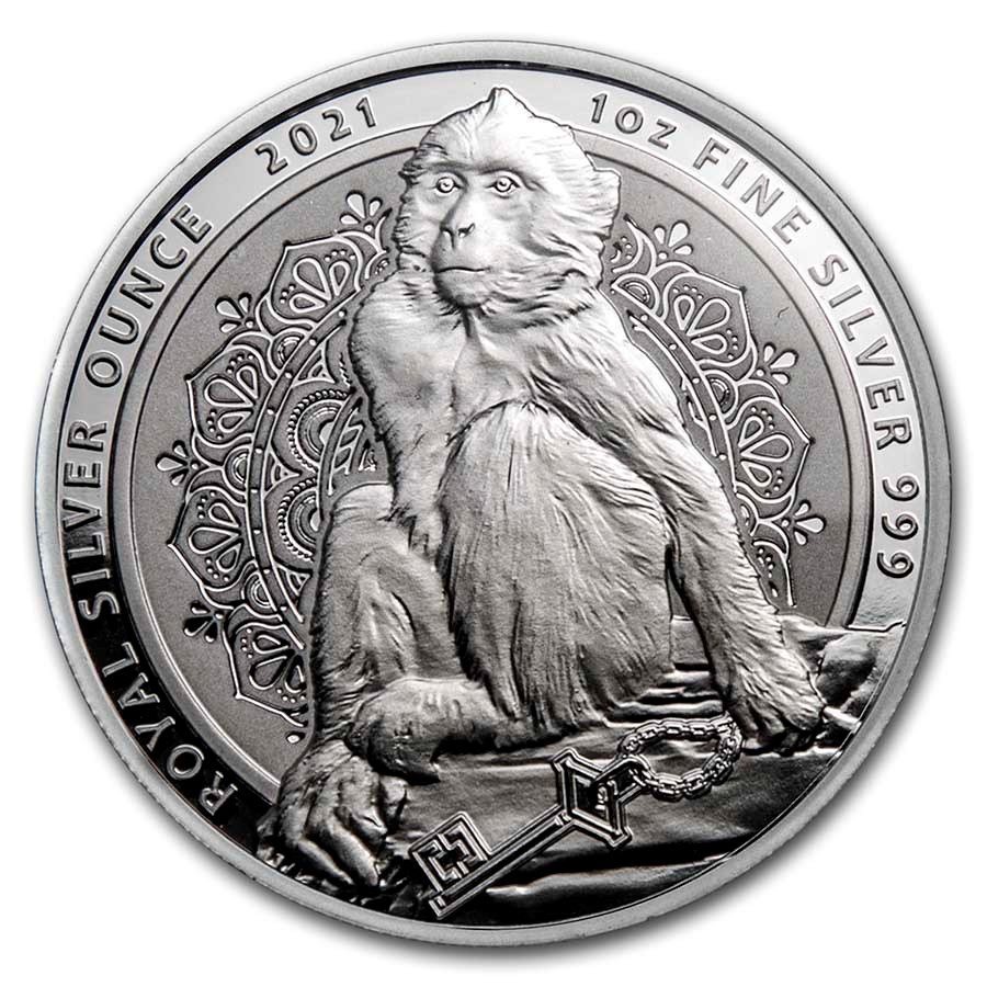 2021 Gibraltar 1 oz Silver The Barbary Macaque BU