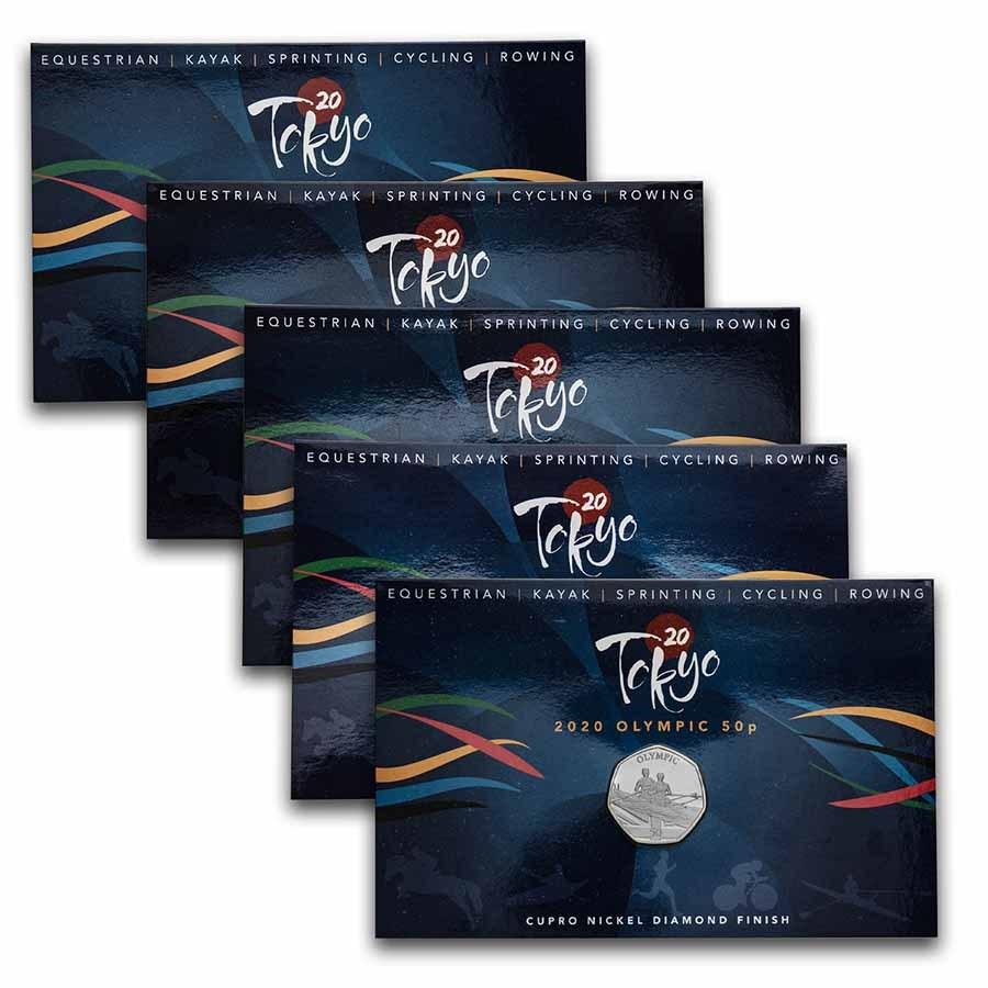 2021 Gibraltar Cupro-Nickel 50p Summer Olympics 5-Coin Set