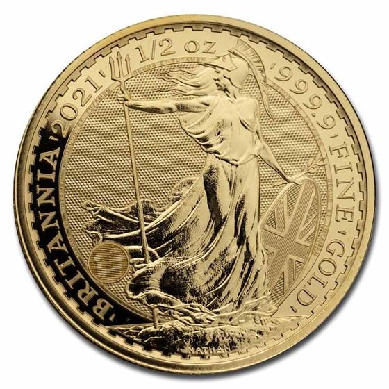 2021 Great Britain 1/2 oz Gold Britannia BU