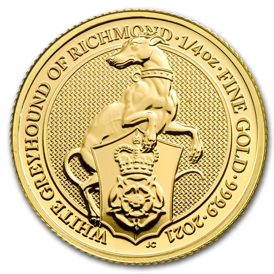 2021 Great Britain 1/4 oz Gold Queen's Beasts The White Greyhound