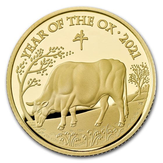 2021 Great Britain 1/4 oz Gold Year of the Ox Proof (Box & COA)
