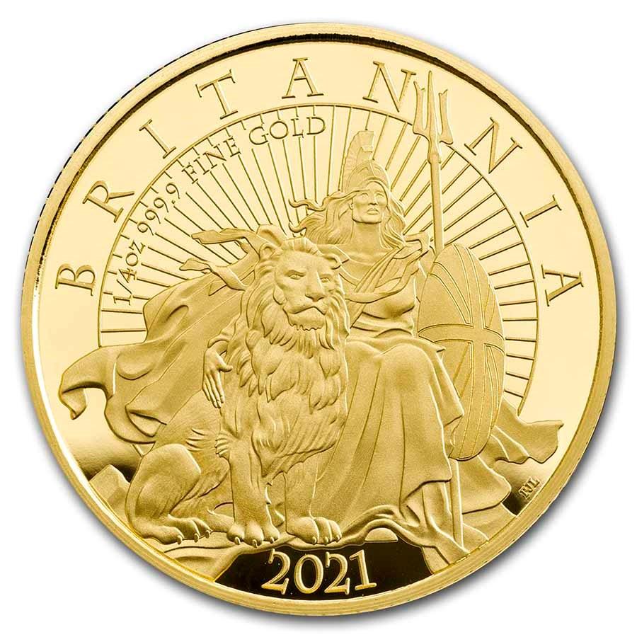 2021 Great Britain 1/4 oz Proof Gold Britannia