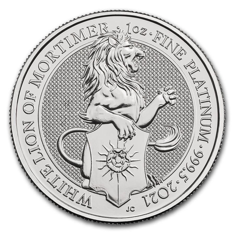 2021 Great Britain 1 oz Platinum Queen's Beasts The White Lion