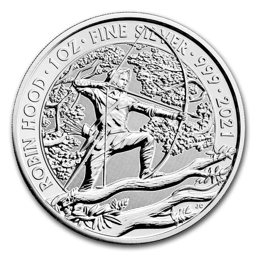 2021 Great Britain 1 oz Silver Myths and Legends: Robin Hood BU