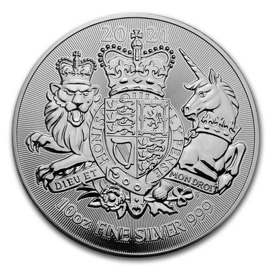 2021 Great Britain 10 oz Silver The Royal Arms BU