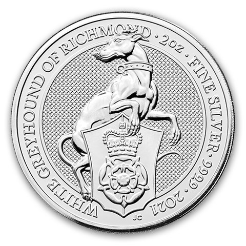 2021 Great Britain 2 oz Silver Queen's Beasts The White Greyhound