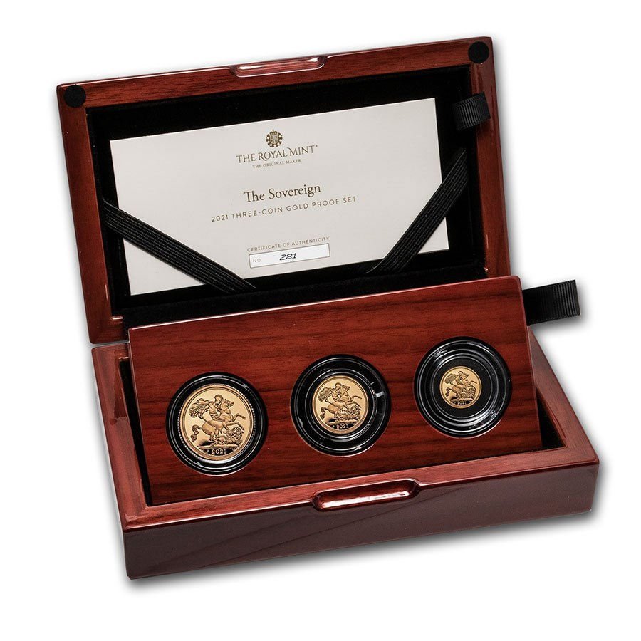 2021 Great Britain 3-Coin Gold Sovereign Proof Set