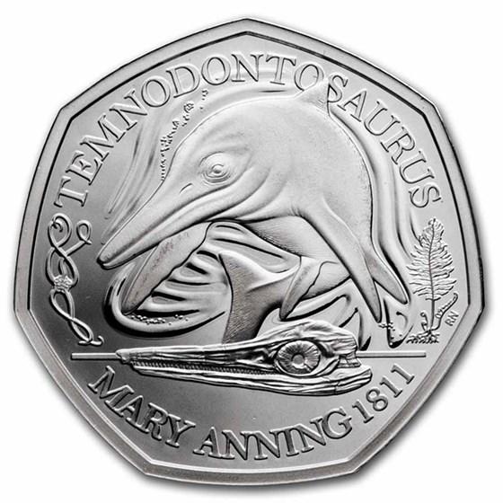 2021 Great Britain 50 Pence Temnodontosaurus BU