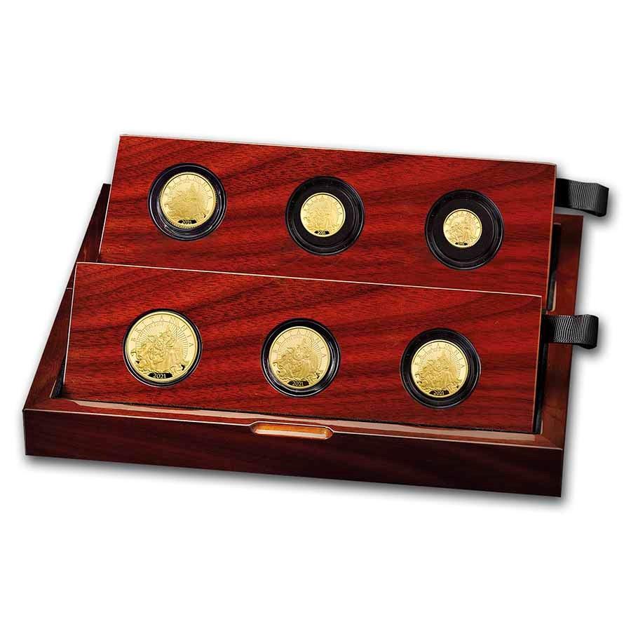 2021 Great Britain 6-Coin Gold Britannia Proof Set
