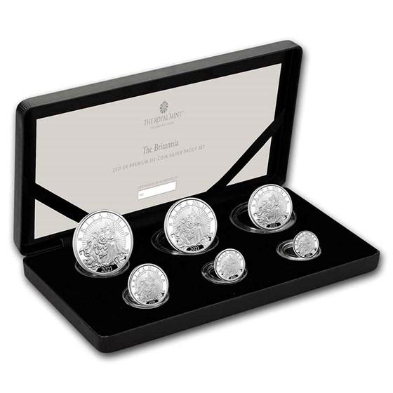 2021 Great Britain 6-Coin Silver Britannia Proof Set