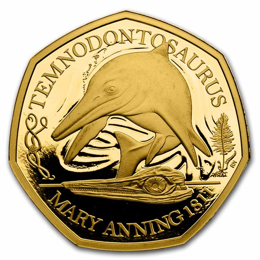2021 Great Britain Gold 50 Pence Proof Temnodontosaurus