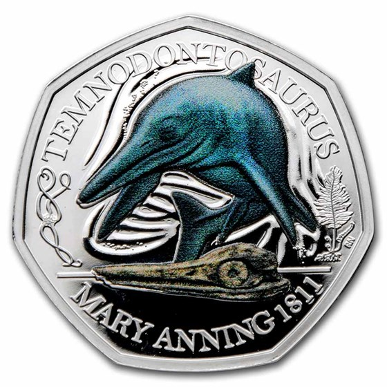 2021 Great Britain Silver Prf 50p Temnodontosaurus (Colorized)