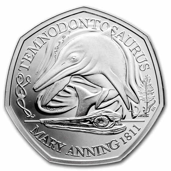 2021 Great Britain Silver Proof 50 Pence Temnodontosaurus