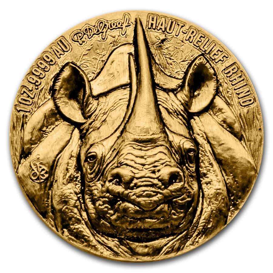 2021 Ivory Coast 1 oz Gold Haut Relief Rhino