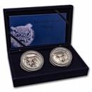 2021 Ivory Coast 10 oz Silver Edition Signature Owl 2-Coin Set