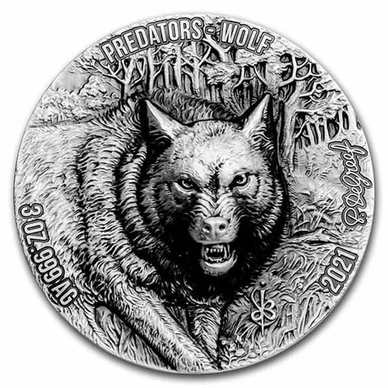 2021 Ivory Coast 3 oz Antique Silver Predators; Wolf