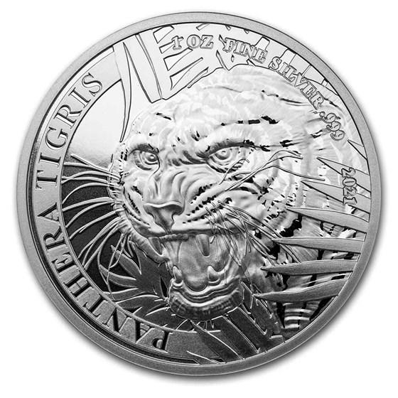 2021 Laos 1 oz Silver 500 KIP Tiger BU (Panthera Tigris)