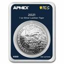 2021 Laos 1 oz Silver 500 KIP Tiger (MD® Premier + PCGS FS)