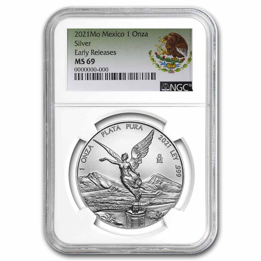 2021 Mexico 1 oz Silver Libertad MS-69 NGC (ER, Coat of Arms)