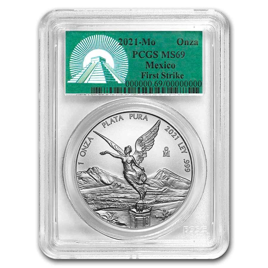 2021 Mexico 1 oz Silver Libertad MS-69 PCGS (FS, Green Label)